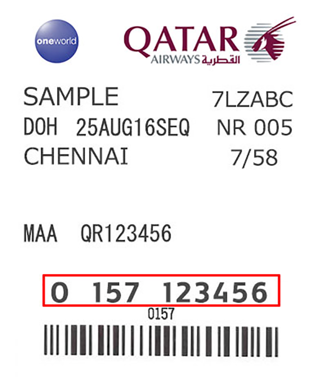 Luggage missing in airport Tag Number